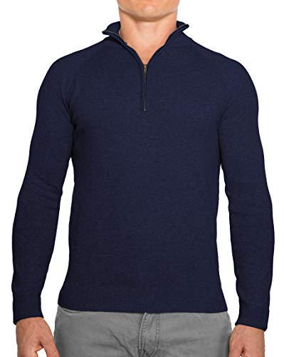 CC Perfect Slim Fit 1/4 Quarter Zip Pullover Men | Durable Mens Sweater with Wash Friendly Fabric | Soft Fitted Sweaters for Men, Medium, Navy Blue