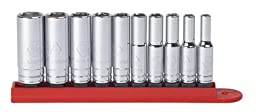 GearWrench 80305 10 Piece 1/4 Drive 6 Point Deep SAE Socket Set