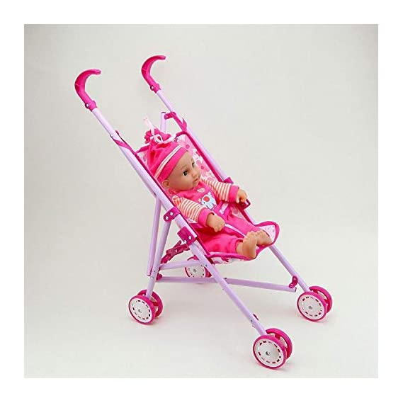 TechToy Stroller with Doll, Real Moving Stroller Toy for Kids, Pretend Play Toy Set (Random Color Will Send)