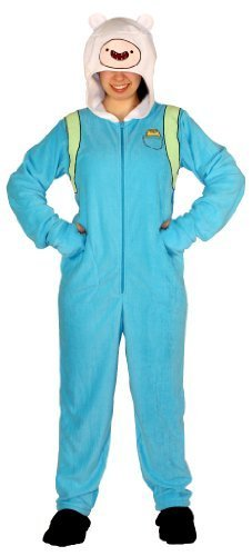 Adventure Time Finn the Human Adult Sky Blue Hooded Footie One Piece Costume Pajama (Adult X-Large) (Finn Jake Costume)