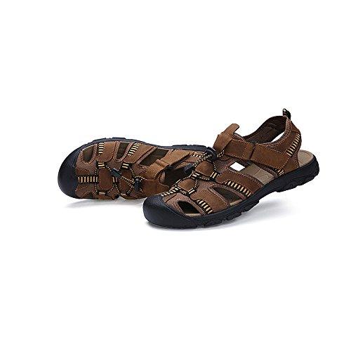Brown sandali Sandali da Dark Size 42 in Light uomo Xiaoqin brown antiscivolo EU sandali Color traspiranti pelle napq05xdFw