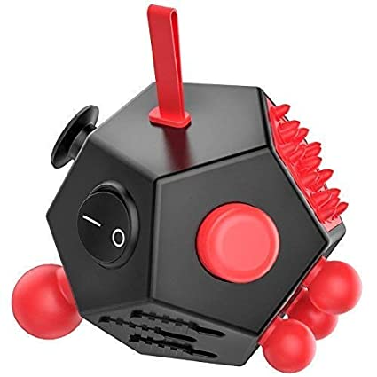 23bb3debde902 WCZC 12 Sided Fidget Cube,Fidget Dodecagon Toy Anti-Anxiety,Relieves Stress  and Autism for Kids ,Teens and Adults (Red)