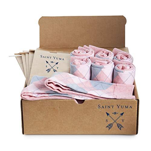 (Groomsmen Socks Set - Saint Yuma - Personalized - Men's Argyle - Light Pink Grey - Premium Cotton - Size 8-13 (8 pairs))