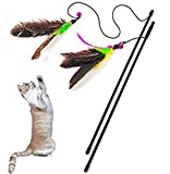 Topdo Pet Supplies Cat Teaser Interactive Toy Pearl Bell Feather Cat Toy Feather Wand Toy Funny Teaser Cat Wood Wand Catcher Toys Pets Interactive Entertainment Play Toy(Random Color)