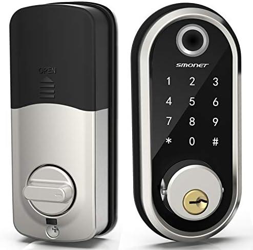 Smart Deadbolt, SMONET Fingerprint Electronic Deadbolt Door Lock with Keypad-Bluetooth Keyless Entry Keypad Smart Deadbolt App Control, Ekeys Sharing, App Monitoring Auto Lock for Homes and Hotel