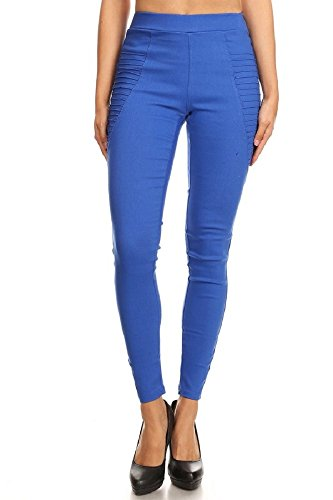 Womens Stretch Twill Bermuda - Jvini Women's High Waist Stretch Pull-On Skinny Jeggings with Pockets (Large, Blue)