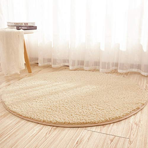 MOXIC Solid Round Area Rugs Soft Shag Shaggy Living Room Bedroom Children Rug Anti-Slip Plush Carpet Bathroom Mats Circular Modern Home Decorate Nursery Runners Khaki 4.6' X -