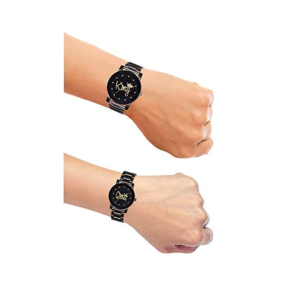 Harmi Creative Popular of Couple King Queen Black Dial Black Stainless Stil Strap Analogue Couple Gift Combos Set (Pack of 2)