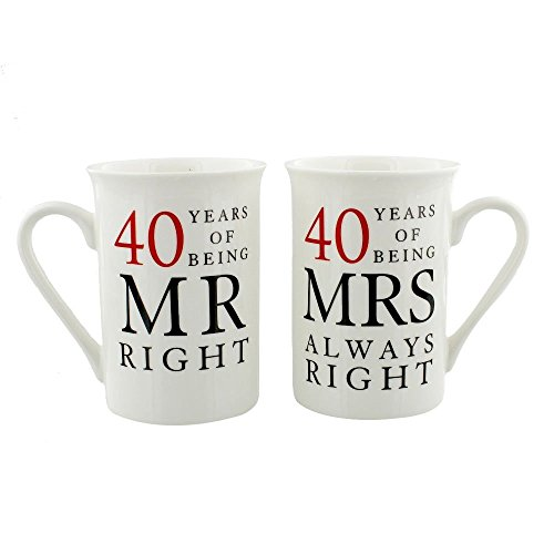 40th Anniversary - Happy Homewares Ivory 40th Anniversary Mr Right & Mrs Always Right Mug Gift Set