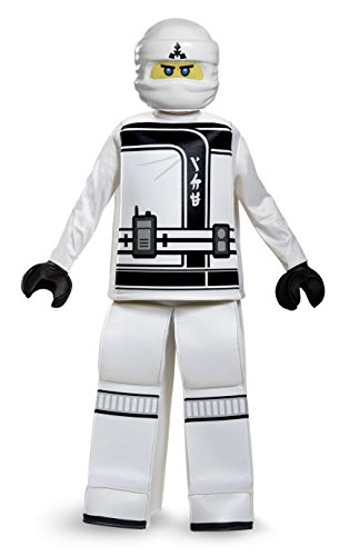 Disguise Zane Lego Ninjago Movie Prestige Costume, White, Large (10-12) -