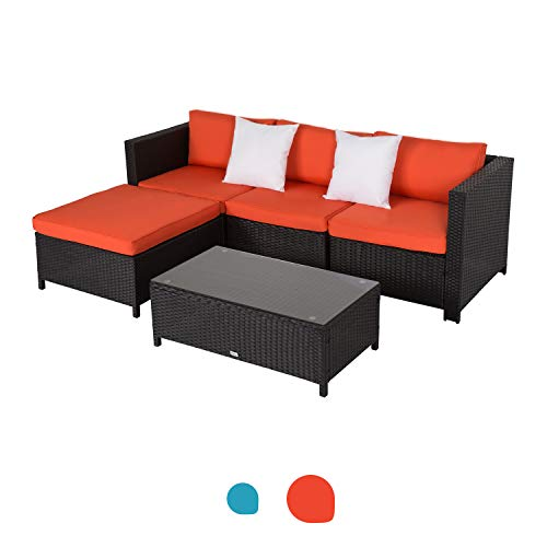 Peachtree Press Inc 5 PCs Outdoor Patio PE Rattan Wicker Sofa Sectional Furniture Set with 2 Pillows and Coffee Table
