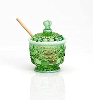 product image for Green Opalescent Glass Eyewinker Pattern Honey Pot with Lid & Wooden Dipper