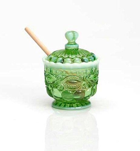 Green Opalescent Glass Eyewinker Pattern Honey Pot with Lid & Wooden Dipper
