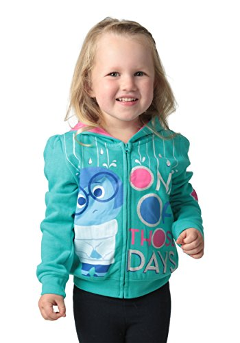 Disney Little Girls' Toddler Inside Out Sadness One of Those Days Hoodies, Aqua, (Out Kids Sweatshirt)