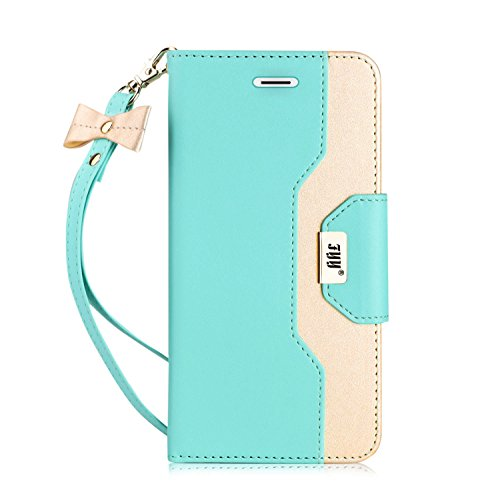 (FYY Leather Case with Mirror for Galaxy S7 Edge, Leather Wallet Flip Folio Case with Mirror and Wrist Strap for Galaxy S7 Edge Mint Green)