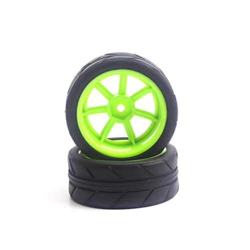 DZT19682PCS Kids 1/10 1:10 Portable Rubber&Plastic Tire Tyres Wheels for HSP Kyosho Tamiya 3racing Racing Car (Green)