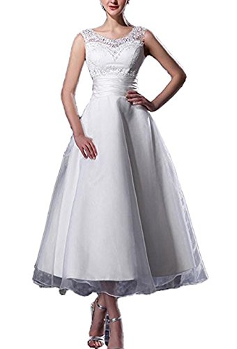 WeddingDazzle Women's A-Line Scoop Straps Beaded Length Organza Wedding Dress Bridal Dress 22W ()