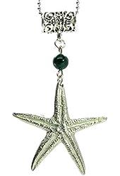 Malachite Necklace 12 Starfish Green Gemstone Silver Charm (Gift Box, 18 Inches)