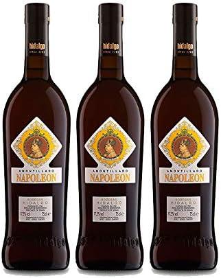 Vino Amontillado Napoleon de 75 cl - D.O. Jerez - Bodegas Hidalgo La Gitana (Pack de 3 botellas)