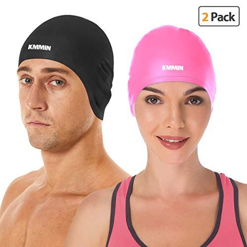 (KMMIN Swim Cap, 3D Ergonomic Design Swimming Cap for Women Men Long Hair Short Hair Silicone Adult Swim Cap with Great Elasticity Ear Protection)