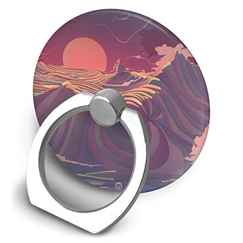 (Round Finger Ring Cell Phone Holder Animated Mountains 360 Degree Rotating Stand Grip Mounts)
