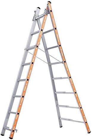 Tubesca – Escalera transformable aluminio 2 x 8 peldaños, altura ...