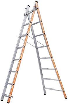 Tubesca – Escalera transformable aluminio 2 x 8 peldaños, altura Acceso de 4,7 m – PRONOR: Amazon.es: Bricolaje y herramientas