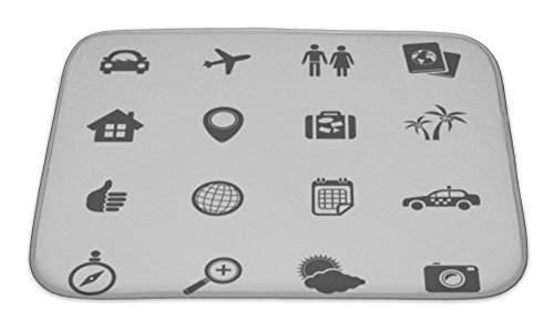 Gear New Bath Rug Mat No Slip Microfiber Memory Foam, Travel Icons Set, 24x17 (Hotel Bell No Slip compare prices)