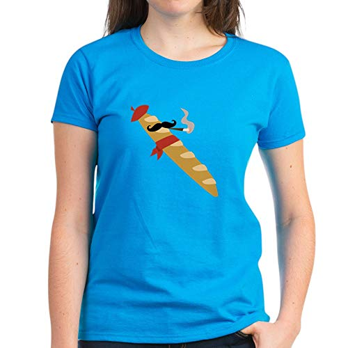 - CafePress French Baguette T Shirt Womens Cotton T-Shirt Caribbean Blue