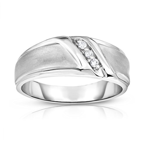 Noray Designs 14K White Gold Diamond (0.06 Ct, I1-I2 Clarity, G-H Color) Men's 3-Stone Ring by Noray Designs