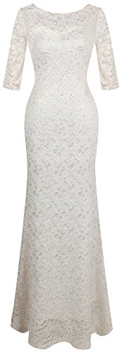 Angel-fashions Women's Half Sleeve Lace Long Wedding Dress Small White (White Sheath Dress Wedding)