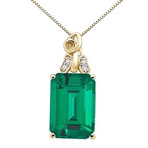 (MauliJewels 6.50Ct Emerald Cut Lab Created Emerald and Diamond Pendant in 10K Yellow Gold)