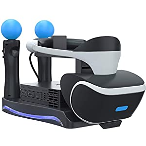 Best Epic Trends 41k55-01FHL._SS300_ Skywin PSVR Stand - Charge, Showcase, and Display Your PS4 VR Headset and Processor - Compatible with Playstation 4 PSVR…
