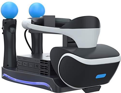 Soporte Skywin PSVR - Cargue, muestre y muestre sus auriculares y procesador PS4 VR - Compatible con Playstation 4 PSVR - Estación de carga del controlador Showcase y Move