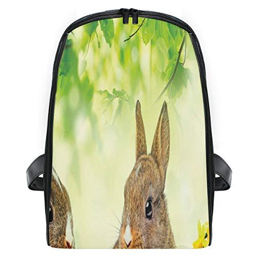 Children's School Bag Brown Litte Rabbits Meadow Green Grass Spring Easter Photography Kids Daypack Lightweight backpack