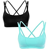 CRZ YOGA Women's 2 Pack Padded Cool-Look Criss Cross Strappy Yoga Sports Bra