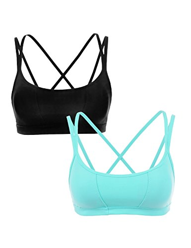 CRZ YOGA Women's Removable Pads Cool-Look Criss Cross Strappy Yoga Sports Bra Black/Light Blue L Fit 34DD 36D 38A 38B 38C