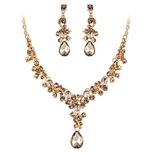 EVER FAITH Women's Crystal Bridal Banquet Floral Waterdrop Necklace Earrings Set Brown Gold-Tone ()