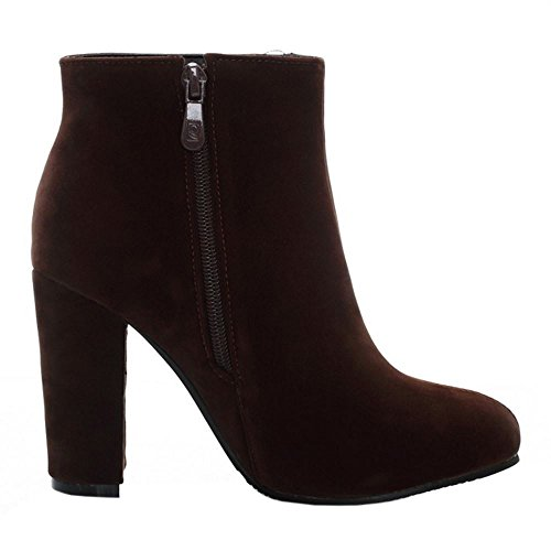 Brown Block Heel Stylish Zipper RAZAMAZA Closure Women's Ankle Chunky Booties tg4qznOxw