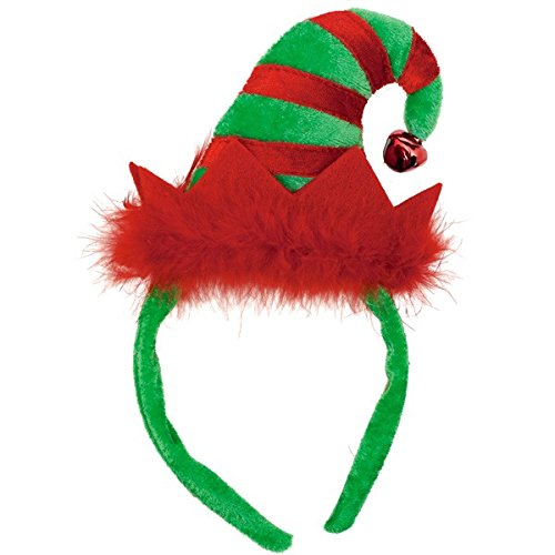 Fun-Filled Christmas and Holiday Party Mini Elf Headband , Red/Green, Plush , 9