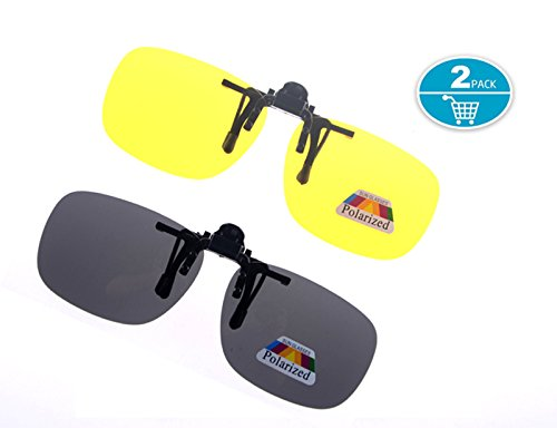 Clip On Sunglasses Polarized Driving Glasses,Shileded Retro Clip Up Sunglasses Plastic Clip-On Glasses,Night Vision for Driving Fishing Cycling Walking Outdoor,2 - Sunglasses On Driving Night Clip