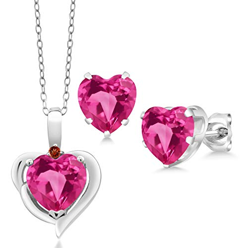Gem Stone King 5.42 Ct Heart Shape Pink Created Sapphire Garnet 925 Silver Pendant Earrings Set