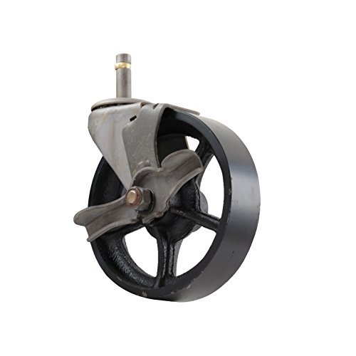Black Cast Iron Wheel 5 CC Vintage Swivel Caster with Wheel Brake Grip Ring Stem Mount