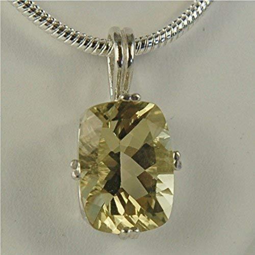 (Lemon Quartz Gemstone Necklace Pendant Sterling Silver 14x10mm)