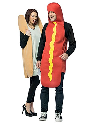 Rasta Imposta Hot Dog and Bun Couples Costume, Packaged Together