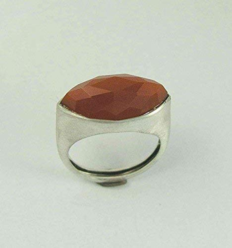 - Sterling silver gemstone rustic orange carnelian statement ring - First impressions R1225