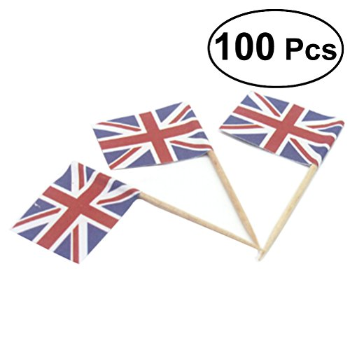 Union Jack Cupcake Toppers for Party Favors Birthday Wedding Baby Shower National Day Food Toothpicks 100 Pcs (Union Flag)