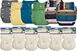 GroVia Hybrid Part Time Package: 6 Shells + 12 Organic Cotton Soaker Pads (Color Mix 9 - Snap)