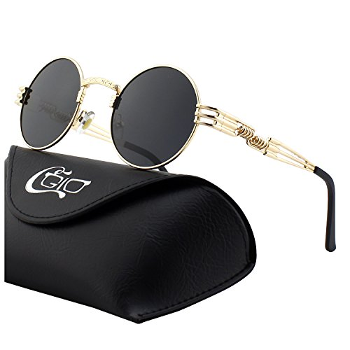 (CGID E73 Retro Steampunk Style Inspired Round Metal Circle Polarized Sunglasses for Women)