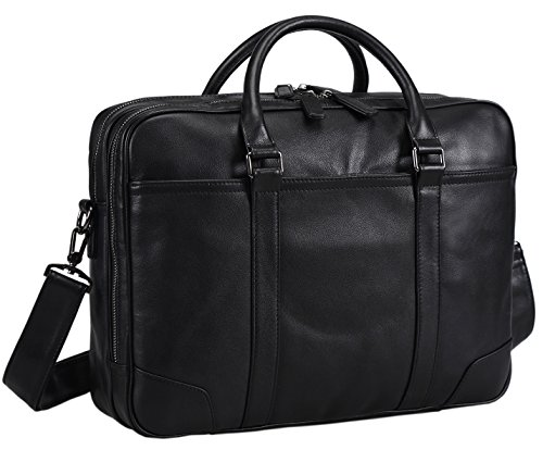 Polare Soft Real Leather Laptop Computer 15'' Briefcase Business Bag-Black